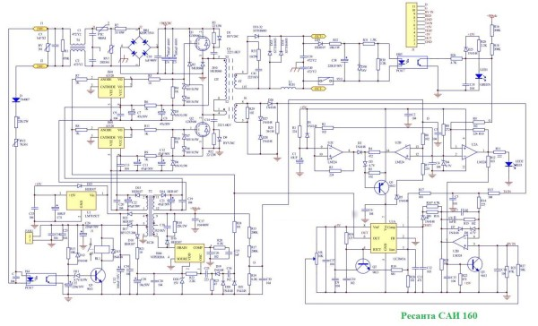 Схема сварочного инверторного аппарата Ресанта САИ 160
