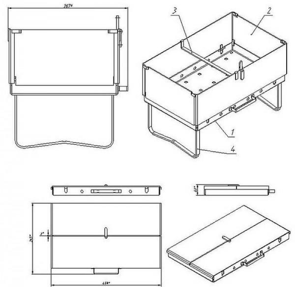 Чертеж мангала-чемодана из металла (в помощь тем, кто хочет сделать своими руками)