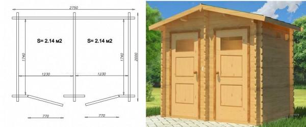 Внешний вид и чертеж туалета и душа для дачи в одном строении