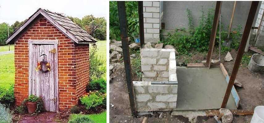 Строим кирпичный туалет даче своими руками