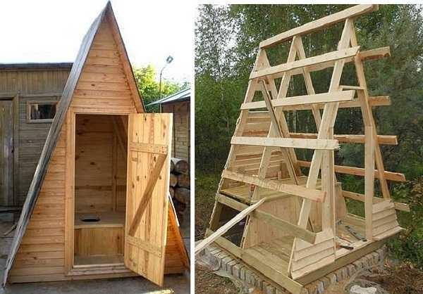 Треугольный туалет на даче построить проще простого