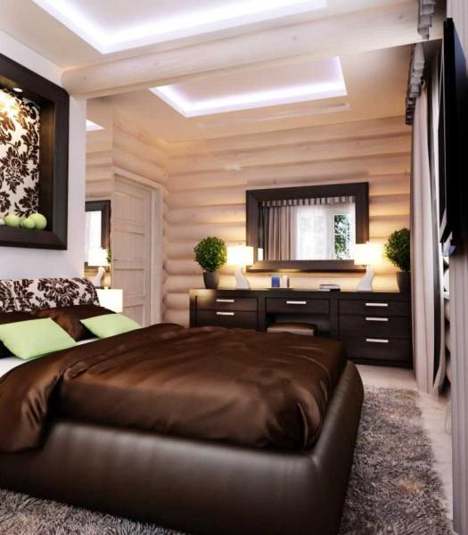 Внутри деревянного дома атмосфера совсем иная. Правильно обыгрывающий деревянные стены интерьер, дополненный в спальне текстилем - вот основа этой вариации