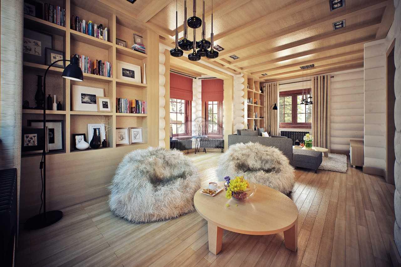 Интерьер внутри бревенчатого дома