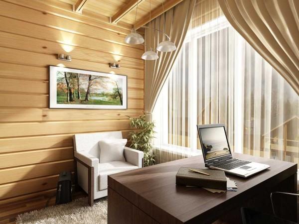 Деловой кабинет в доме из бруса. Внутри уютно, спокойно, Ничего лишнего, интерьер располагает к работе