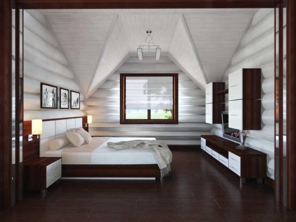 Выбеленные бревна и темная отделка, мебель в тех же цветах. Нелинейный потолок из вагонки создает интересный визуальный эффект