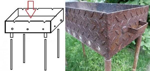 Как прикрепить к дну мангала из металла ножки из труб
