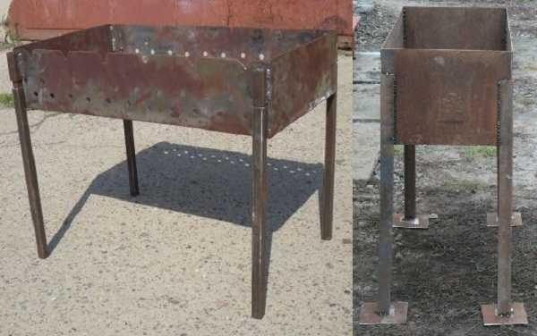 В качестве ножек для мангала можно использовать железный уголок или профильную трубу небольшого сечения