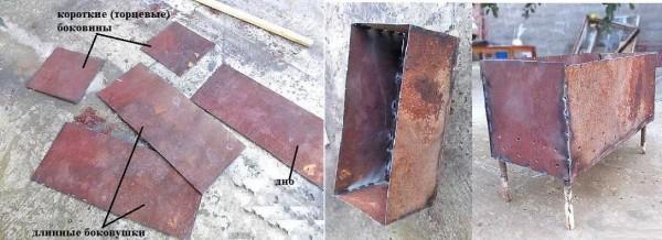 Второй способ сделать мангал из металла своими руками - нарезать все необходимые детали для короба и затем сварить