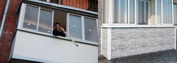 Можно обшить балкон сайдингом. Обычным или цокольным (справа)