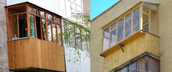 Обшить балкон снаружи можно и деревом - вагонкой, например