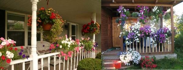 Традиционный, но такой симпатичный способ украсить открытую летнюю веранду висящими горшками с цветущими растениями