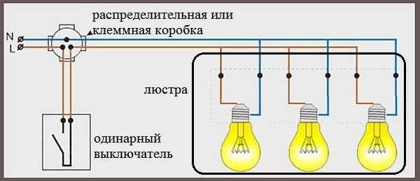 Подключение люстры с тремя проводами