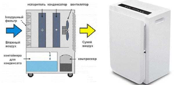 Один из способов просушить сырой подвал - поставить бытовой осушитель воздуха