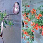 Не знаете, на какие крючки повесить вазоны с цветами? Попробуйте на старые ложки или вилки