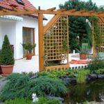 Так при помощи перголы можно оформить вход в дом - это навес, который и без растений смотрится неплохо, а когда они вырастут будет еще уютнее