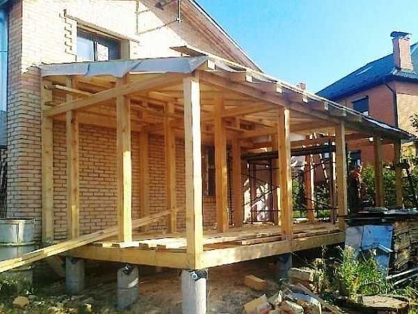 Стропильная система пристроенной к дому веранды