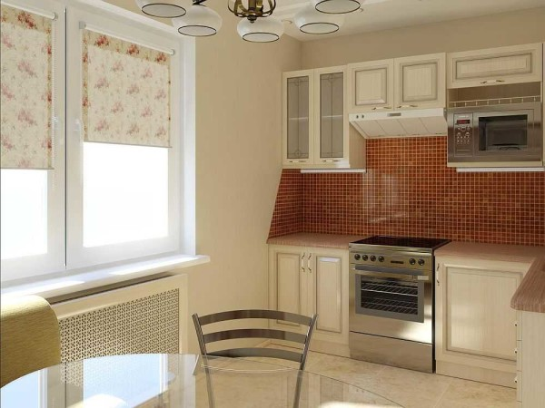 Светлый интерьер и пара акцентов в коричневом цвете - маленькая кухня кажется более просторной