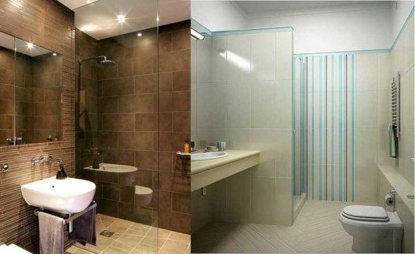 Стеклянная перегородка - способ выделить зону, не делая небольшую ванную еще меньше