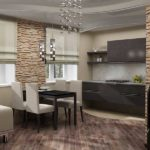 На фото разделение зоны кухни и гостиной при помощи разной фактуры напольного покрытия