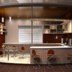 Зоны гостиной и кухни разделены и уровнем и цветом