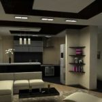 Зонирование кухни и гостиной при помощи разных отделочных материалов потолка и пола - самый распространенный прием