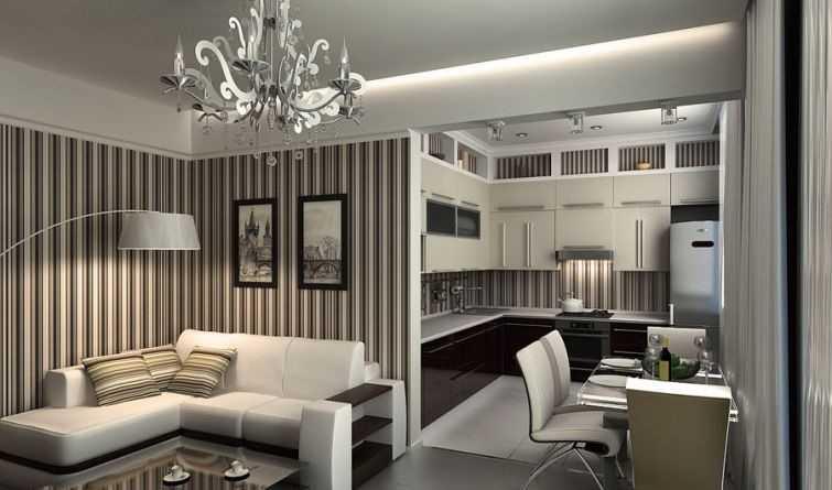 Дизайн гостиной и кухни с перегородкой