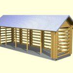 Вариант большого прямоугольного дровника с двускатной крышей