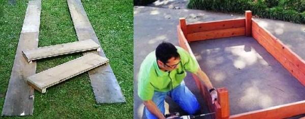 Как сделать простейшую ограду для грядки из дерева