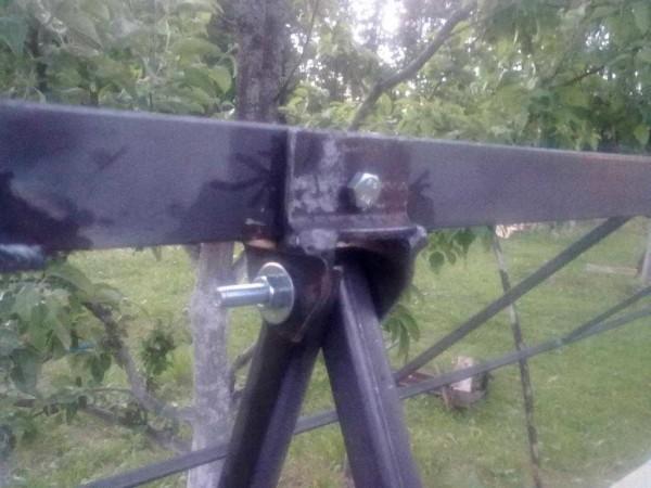 Способ сделать крепление металлической качели к передкладине