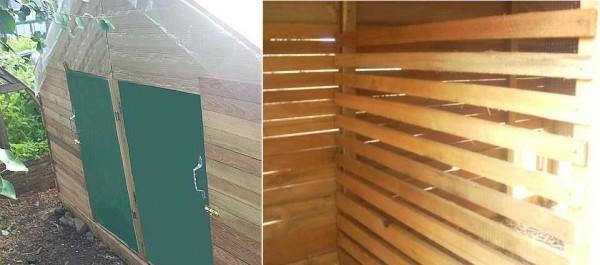 Это дверцы в курятник (правую и левую половину) и сарай для кур изнутри - до оббивки картоном