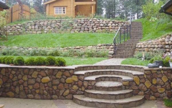 Выравнивание склона при помощи подпорных стенок