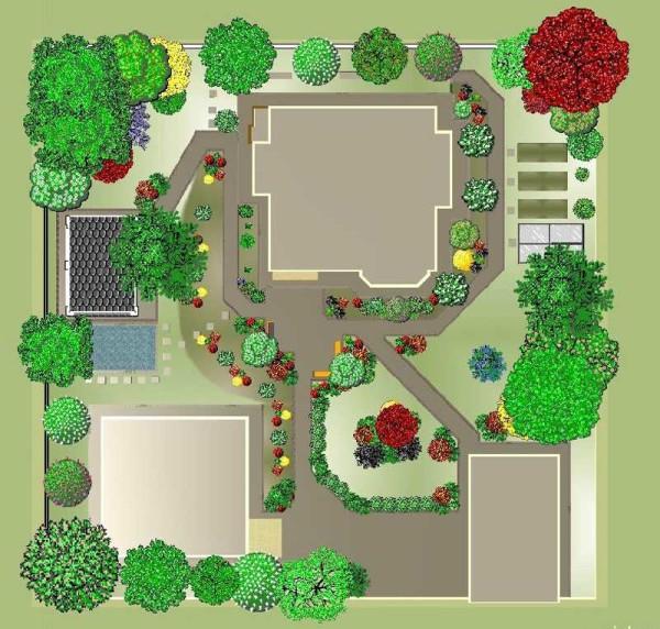 План ландшафтного дизайна квадратного участка загородного дома