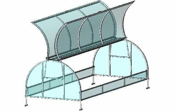 Парник-бабочка: в открытом положении крышки напоминают крылья