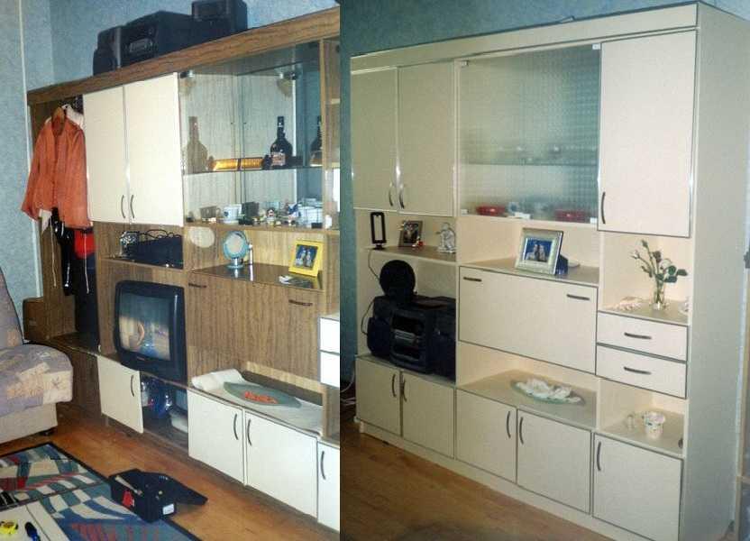 Как обклеить старую мебель обоями своими руками фото до и после