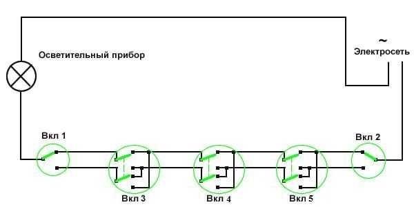 Схема двухклавишного проходного выключателя с двух мест