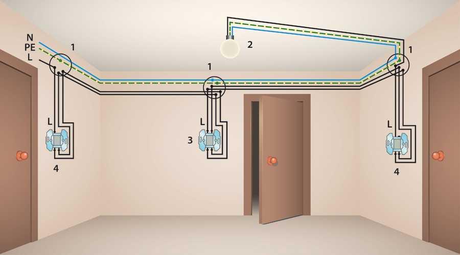 Схема подключения проходного светильника фото 914