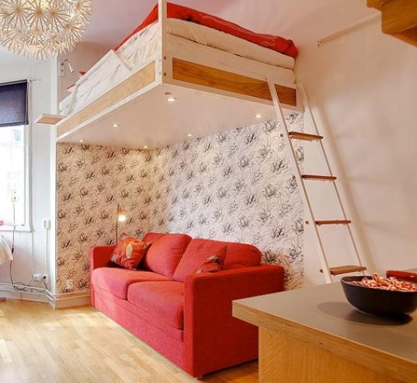 Способ сэкономить место в однокомнатной квартире для молодых людей