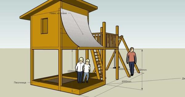 Детская площадка с домиком на высоких ножках - чертеж с размерами