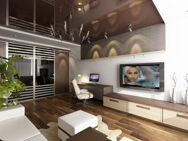 Дизайн однокомнатной квартиры в бежево-коричневых тонах. Удачно сделанный потолок, пуст и темного цвета, зрительно делает помещение просторным
