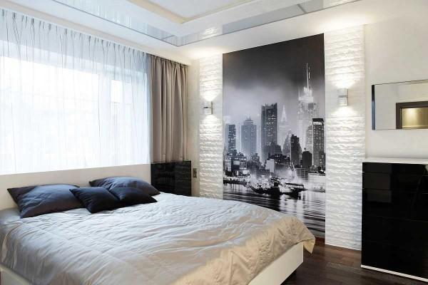 Еще вариант черно-белой спальни с небольшим дополнением золотисто-бежевого цвета