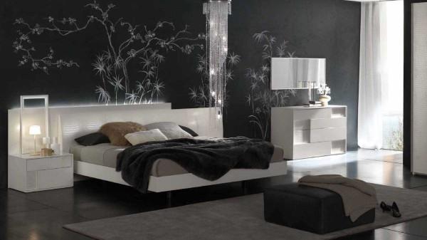 Стены в спальнях современного стиля однотонные или с графическим рисунком