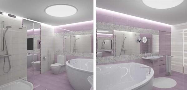 Оформление ванной в бело-розовом цвете