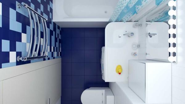 Вид на ванную сверху - видна расстановка предметов