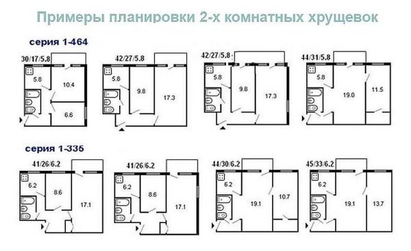 """Варианты планировки двухкомнатных """"хрущевок"""" домов разных серий"""