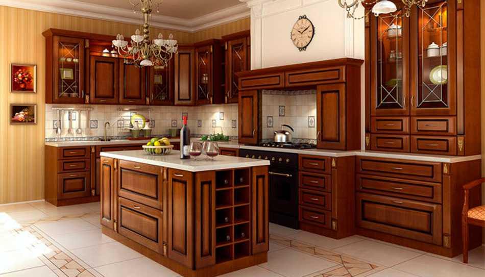 кухонные гарнитуры под дерево фото