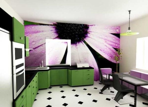 Доминирующая стена в кухне оформлена фотообоями