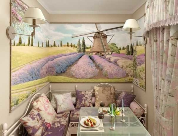 Красивый пейзаже - фотообои в интерьере кухни в стиле прованс