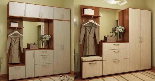 """Два варианта """"сборки"""" из одной коллекции модульной мебели для прихожих"""