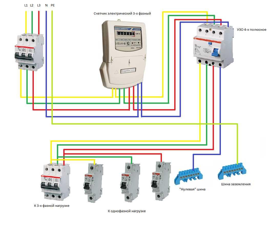 схема электросчетчика на 380