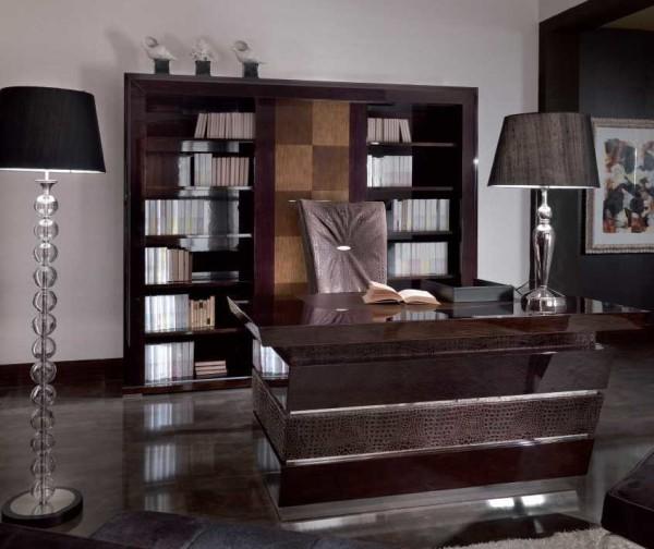Традиционное расположение мебели в кабинете